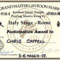 Attestato Kung Fu Chris Cappell